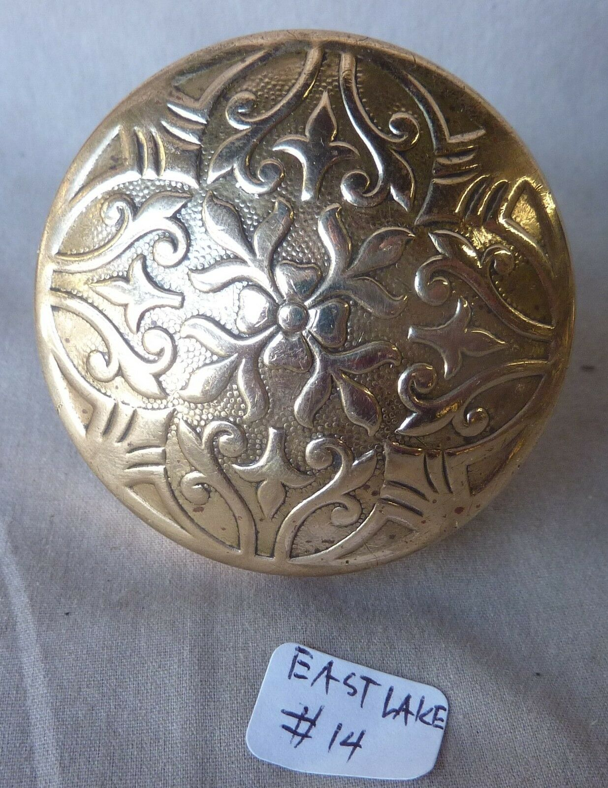 "Door Knob (single) Antique  BRASS VICTORIAN Eastlake 2 1/4"" #14"