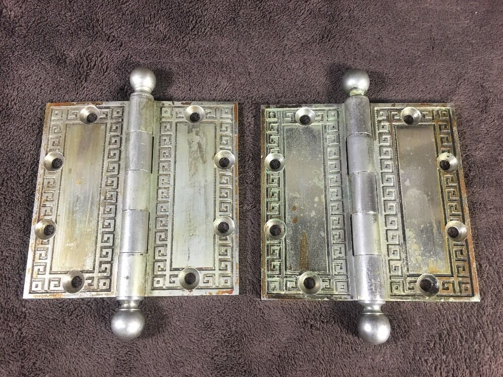 Late 19th Cen Neo-grec Downtown Chicago Salvage Bronze Yale & Towne Door Hinges