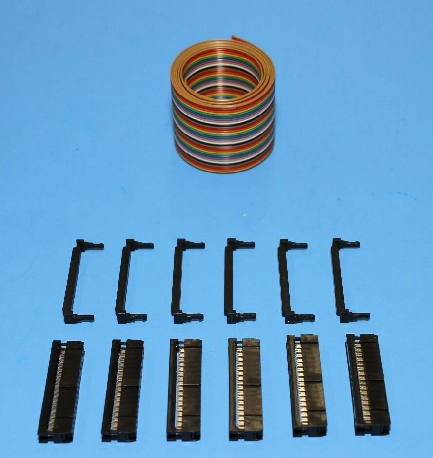 Idc Color Cable Ribbon 3 Ft 30 Pin 2x15 Connector Kit From Socket Ic 8 Or 2x4 1 Of 1free Shipping