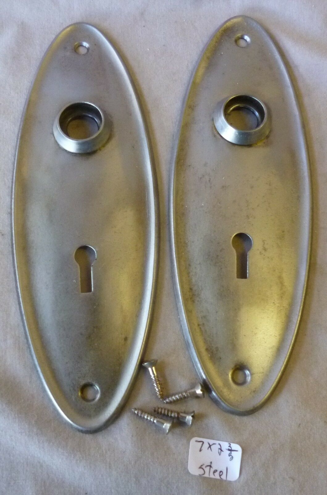 """Door Knob Back Plates (pr) OVAL brushed & lacquered steel 7""""h x 2 3/8""""w"""
