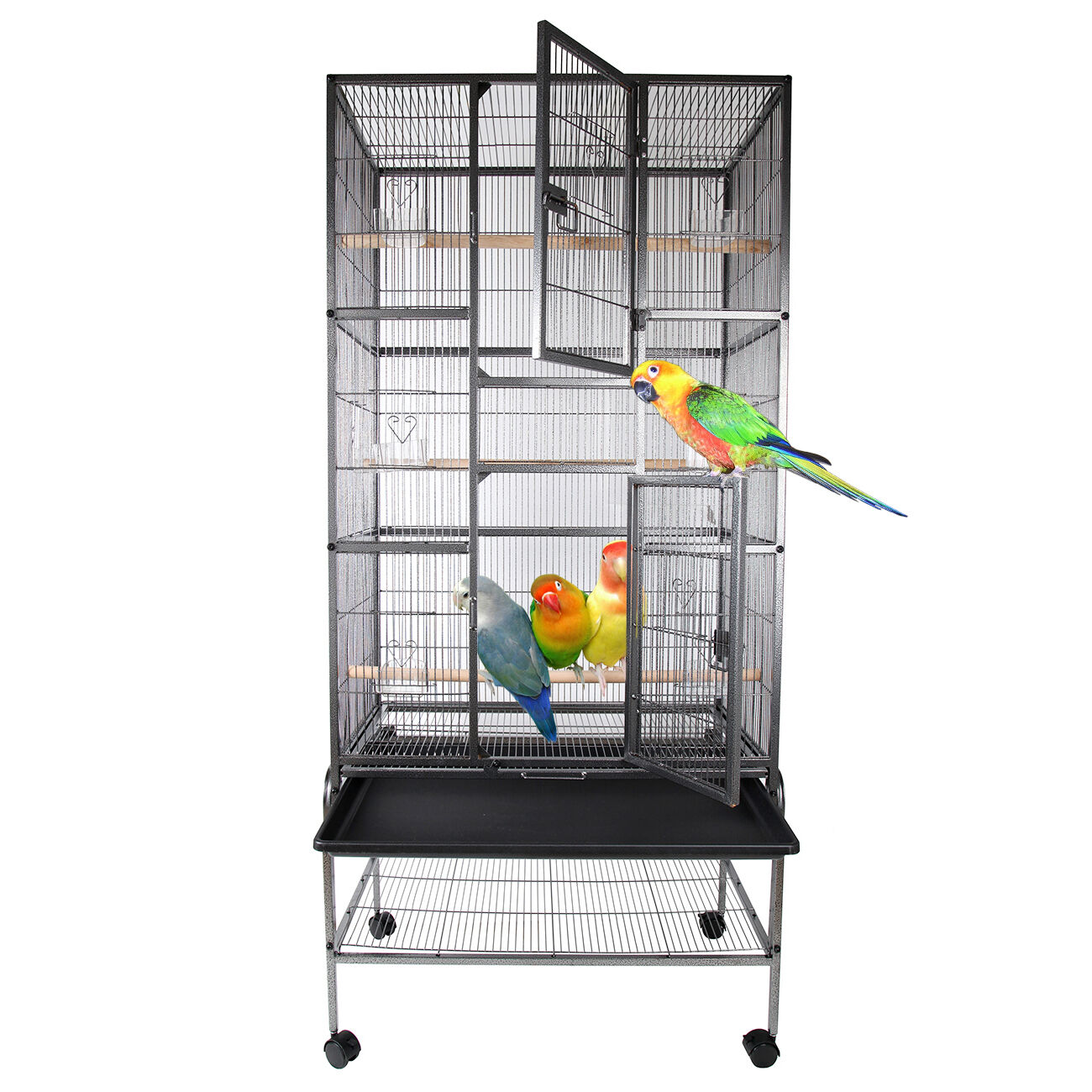 grande voli re cage oiseaux canaries perruches perroquets metal d 39 levage eur 109 00. Black Bedroom Furniture Sets. Home Design Ideas