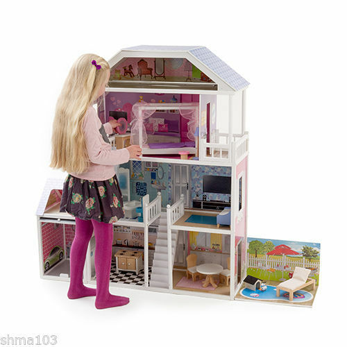 New Mamakiddies Tall Barbie Wooden Dolls House Furniture Garage Pool