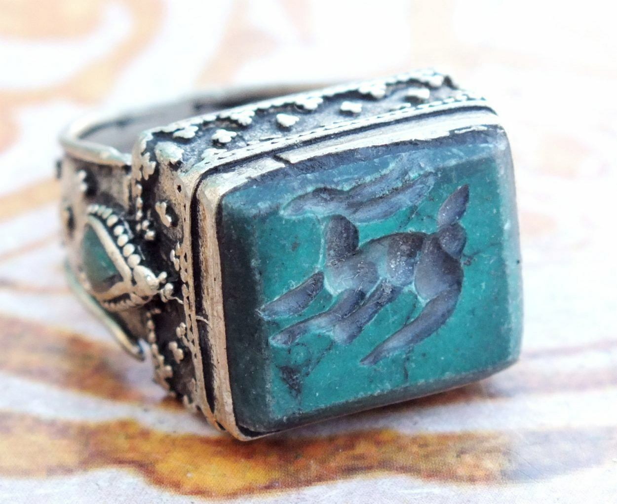 green turquois ethnic Regional Bedouin Jewelry tribal middle eastern ring arabic