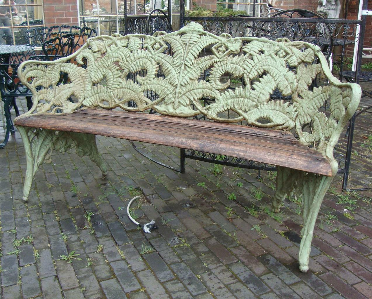 Fern Coalbrookdale Style Cast Iron Garden Two Seat Bench with Wooden Seat