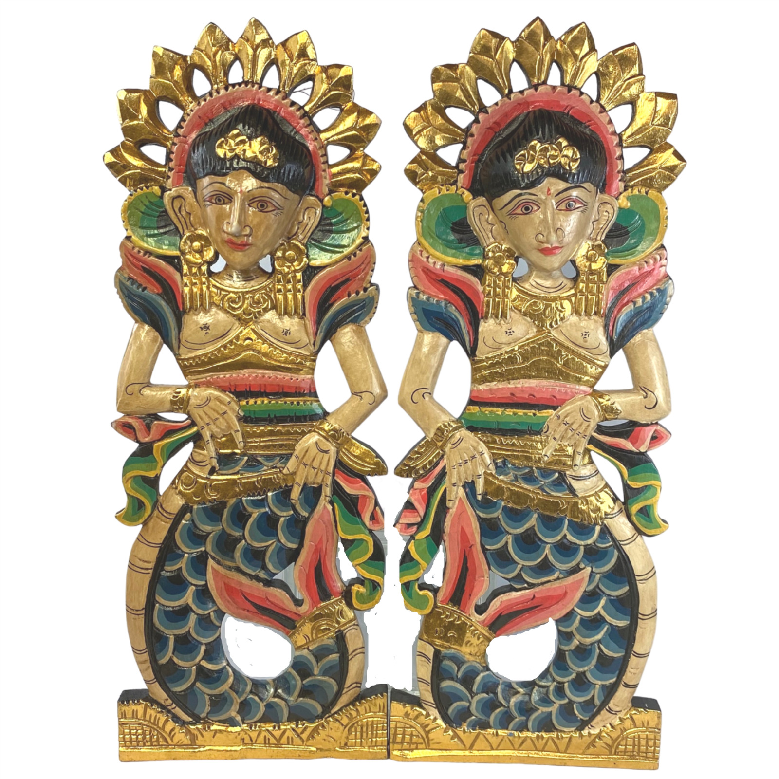 Balinese Mermaid Panel Dewi Sri Hand Carved Wood Bali Wall Art Decor Set 2 1 Of 6only 3 Available See More
