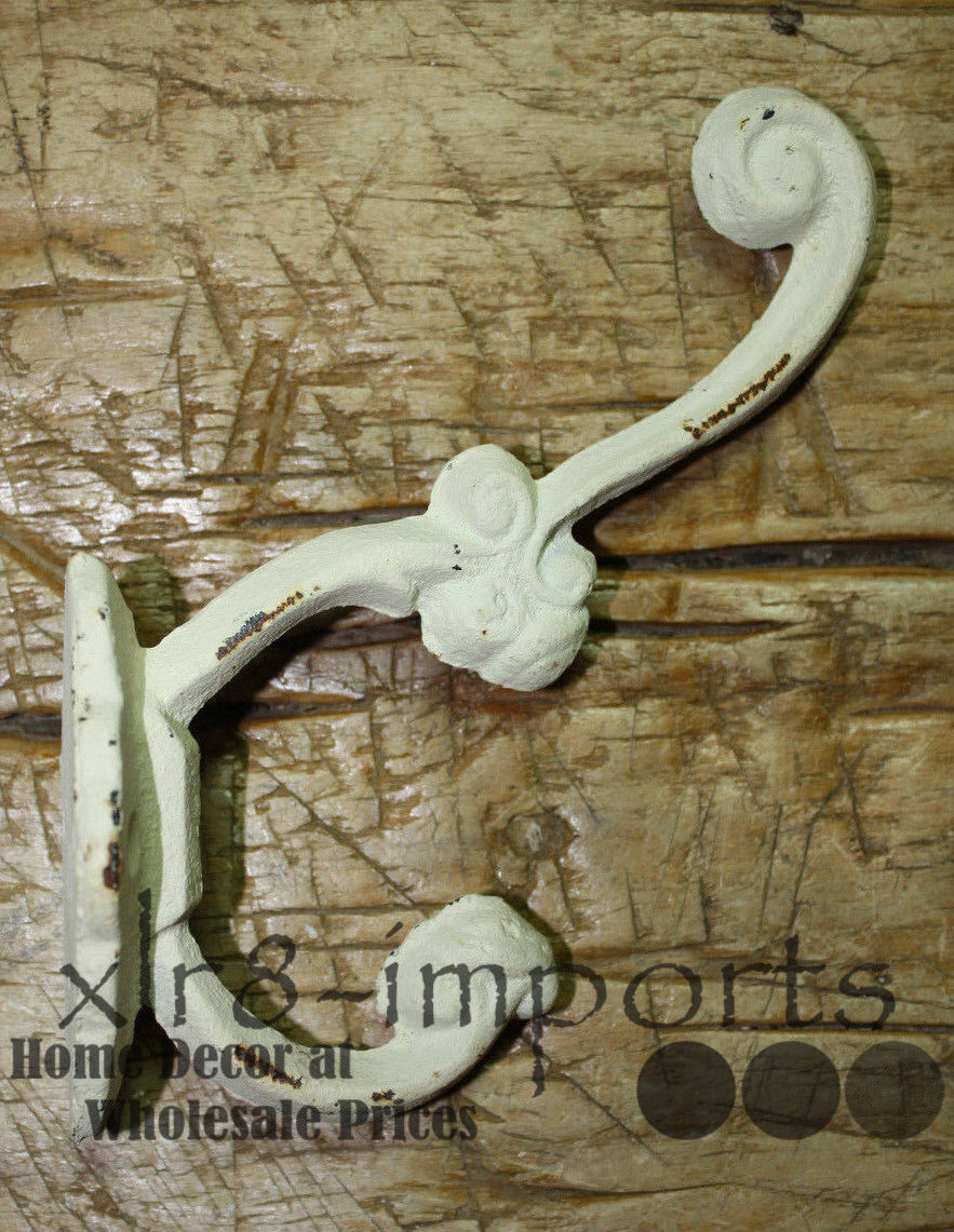 3 Cast Iron White Victorian Style Coat Hooks Hat Hook Rack Hall Tree SCHOOL