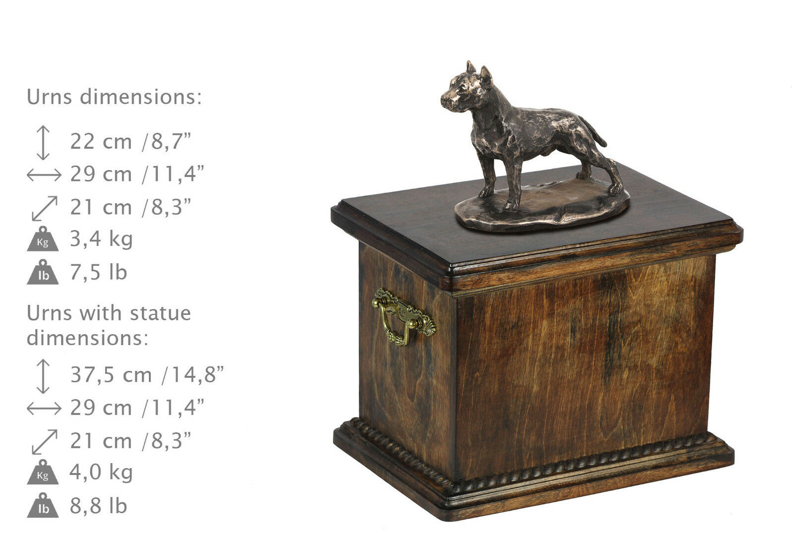 Solid Wood Casket American Staffordshire   Urn for Dog's ashes,with Dog statue.
