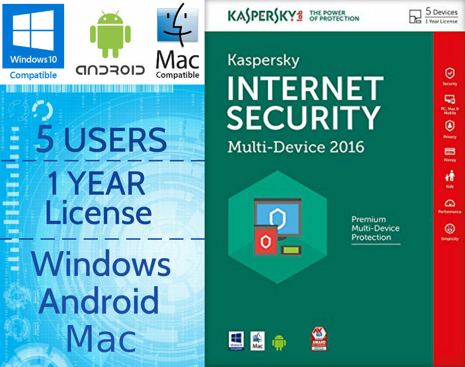 Kaspersky Internet Security 5 Users Pc 1 Year 2016