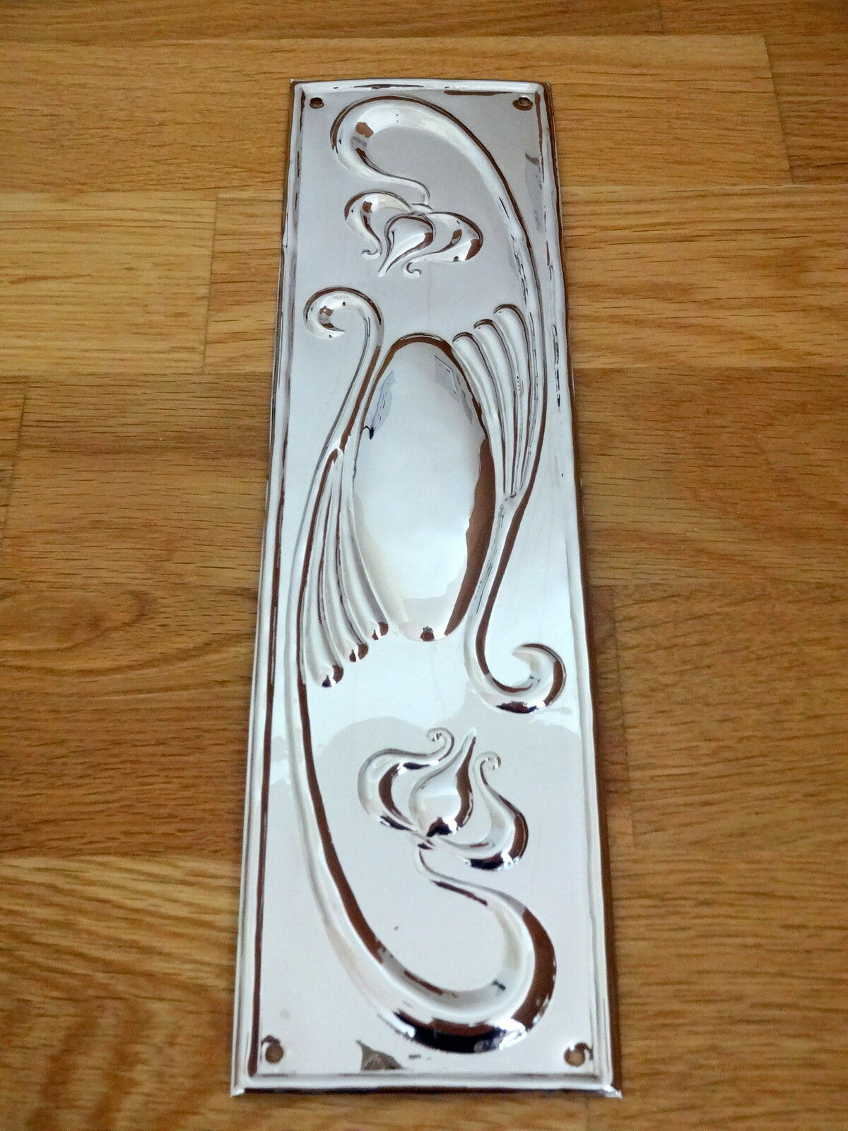 Nickel Plated Art Nouveau Finger Door Push Plates Fingerplate