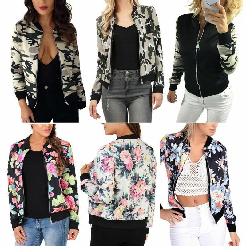 femme motard c l brit camouflage imprim fleuri bomber veste fermeture clair eur 11 07. Black Bedroom Furniture Sets. Home Design Ideas