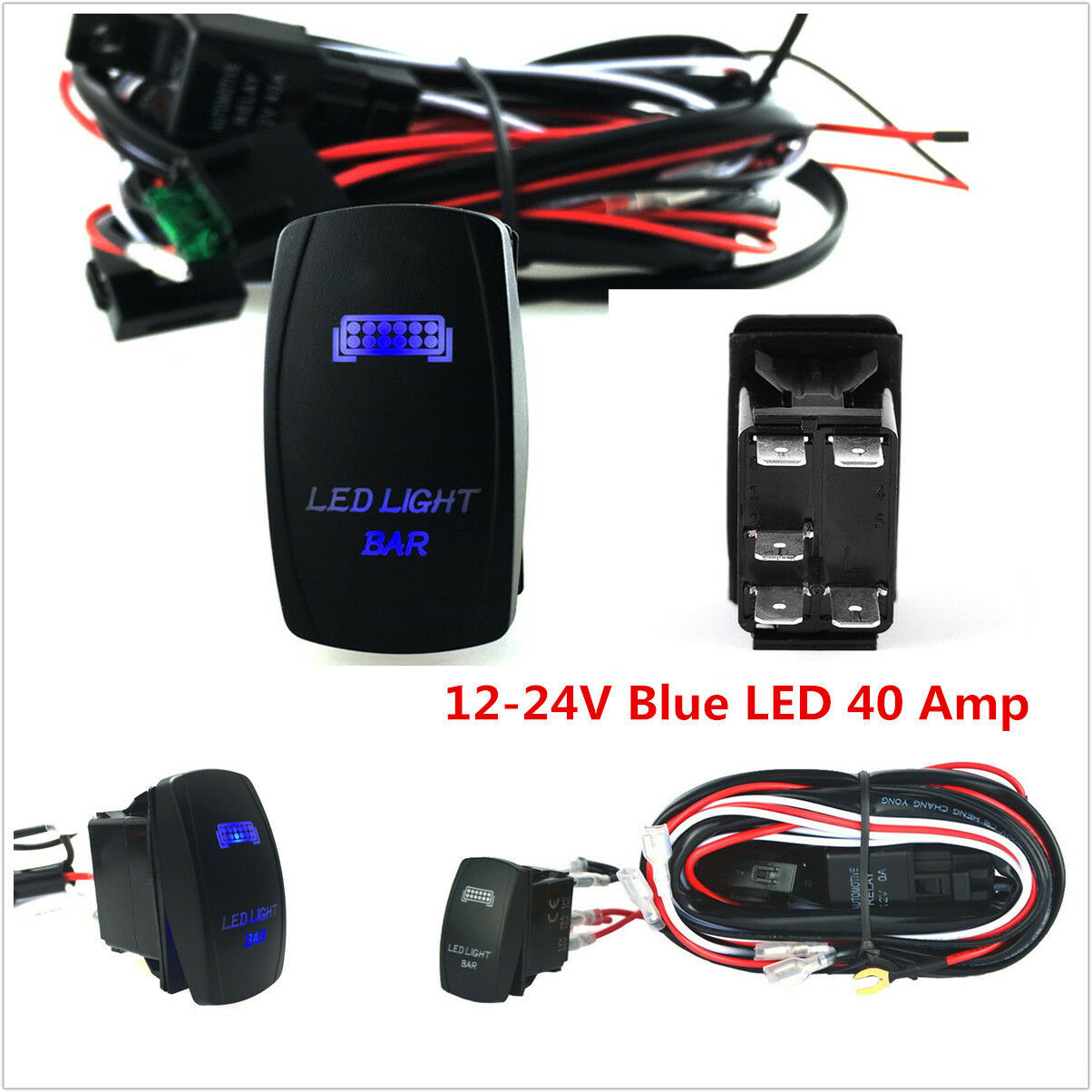 40a Suv Atv Jeep Led Light Bar On Off Rocker Switch Wiring Harness 24v Kit Loom Relay Fuse 1 Of 8free Shipping