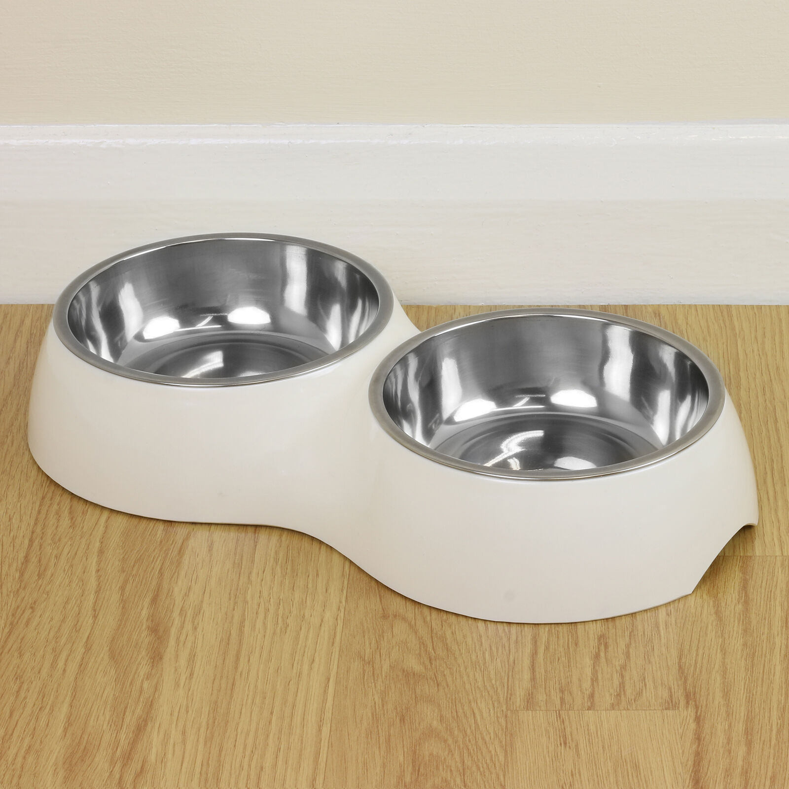 Double White Pet Food/Water Bowl Dog/Cat Stainless Steel/Non Slip Feeding Dish