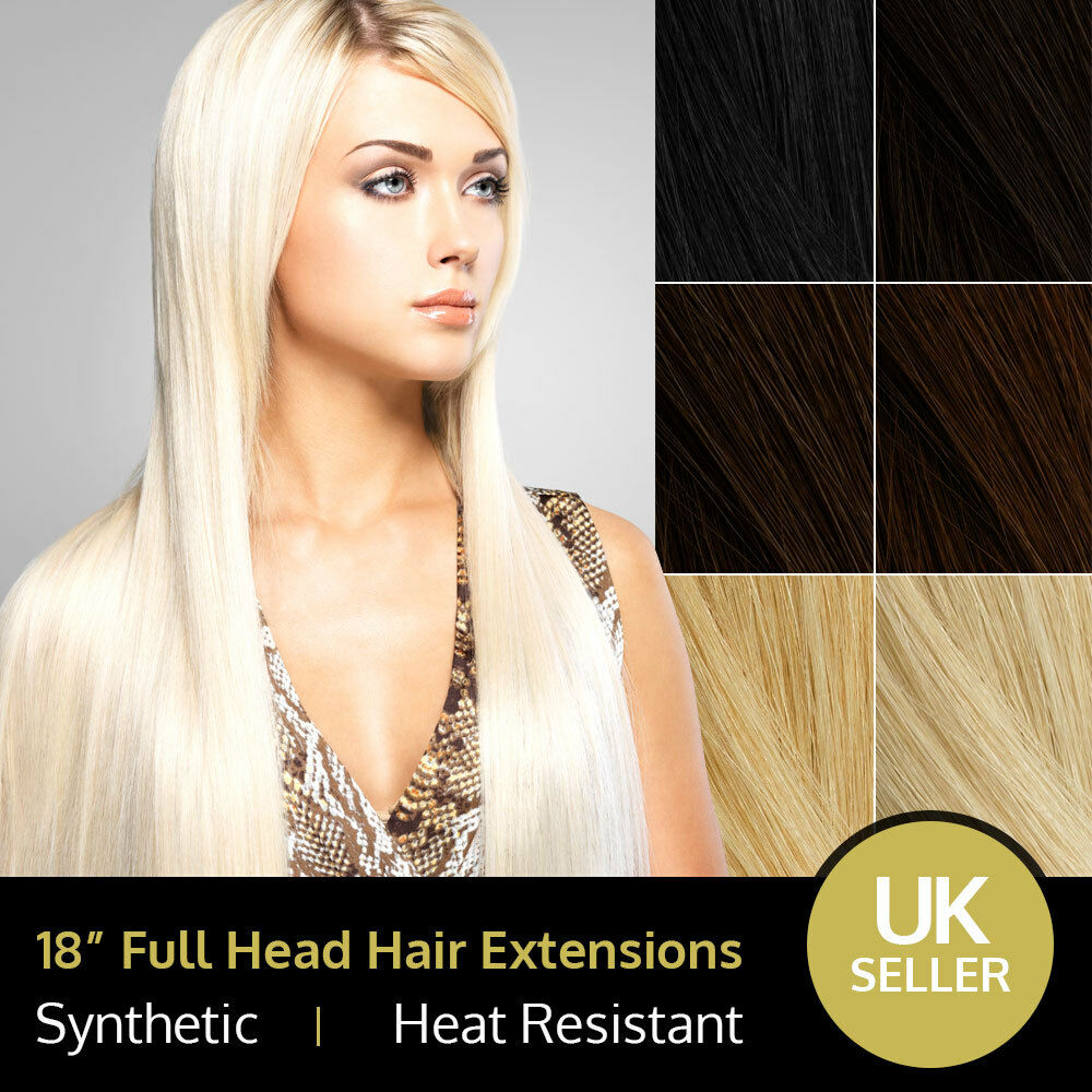 18 Fabulous Full Head Heat Resistant Synthetic Hair Extensions