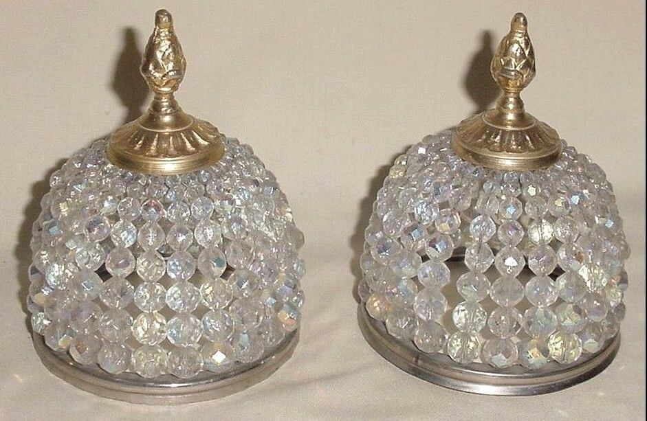"""Old Brass Bronze Czech Crystal Beads Beaded Pair Sconce Shades Spare Parts 4"""""""