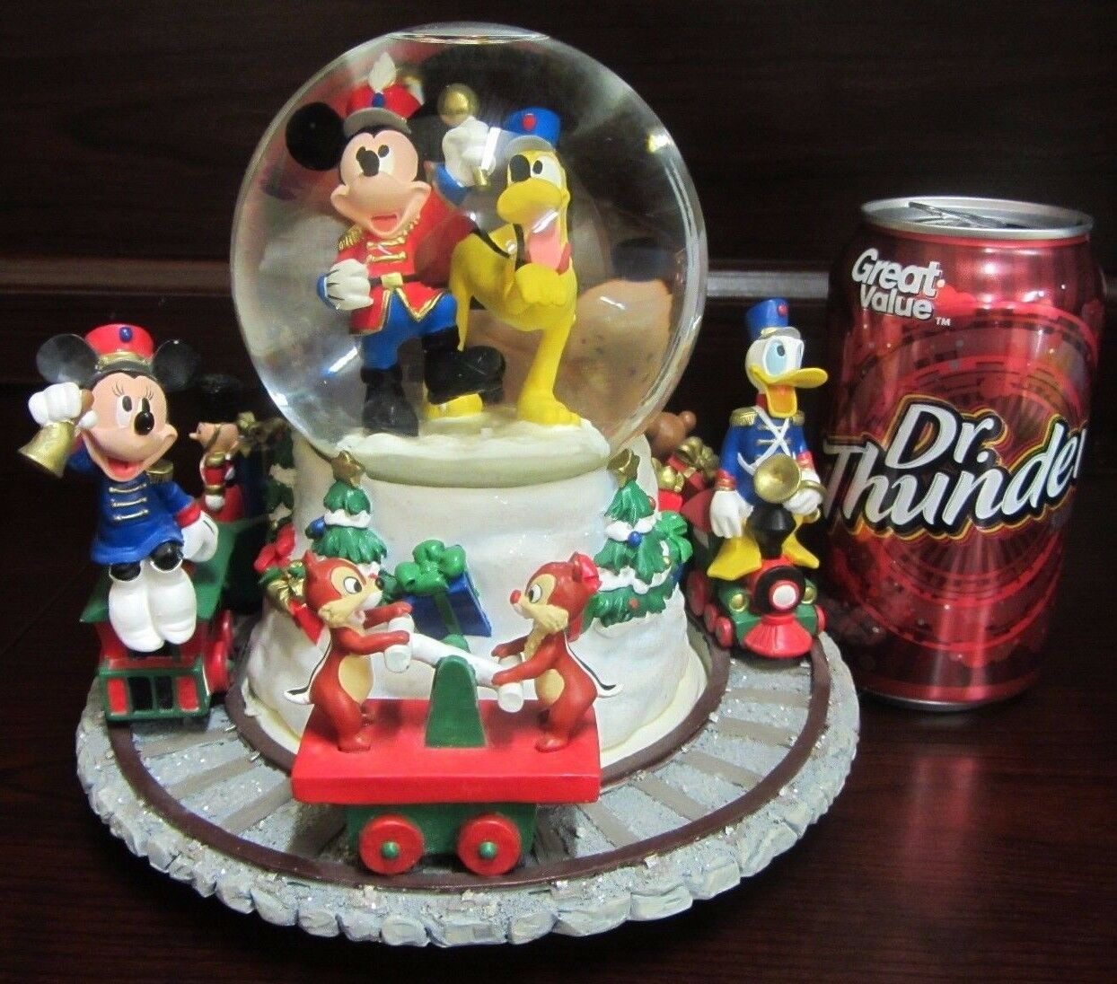 rare disney mickey mouse christmas train pluto goofy minnie snowglobe music box 1 of 6free shipping rare disney mickey mouse christmas train - Disney Christmas Train