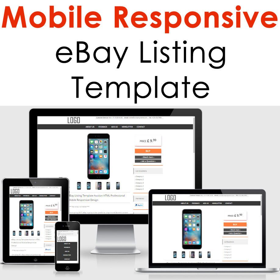 EBAY LISTING TEMPLATE Mobile Responsive Auction Compliant 2018 ...