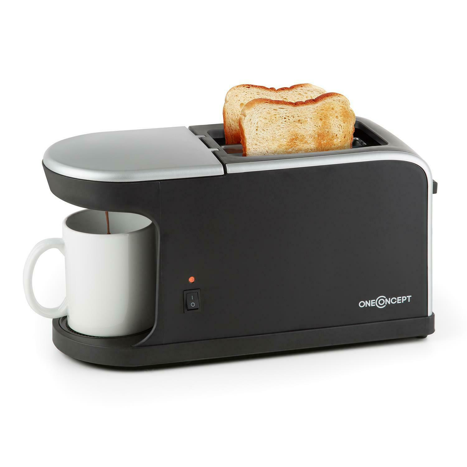 oneconcept quickie 2 in 1 doppelschlitz toaster mini kaffeemaschine inkl tasse eur 31 99. Black Bedroom Furniture Sets. Home Design Ideas