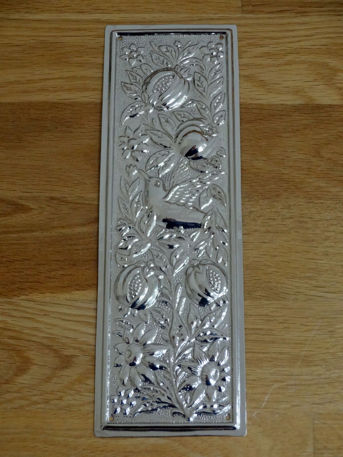 Nickel Plated Arts & Crafts Finger Door Push Plate Fingerplate