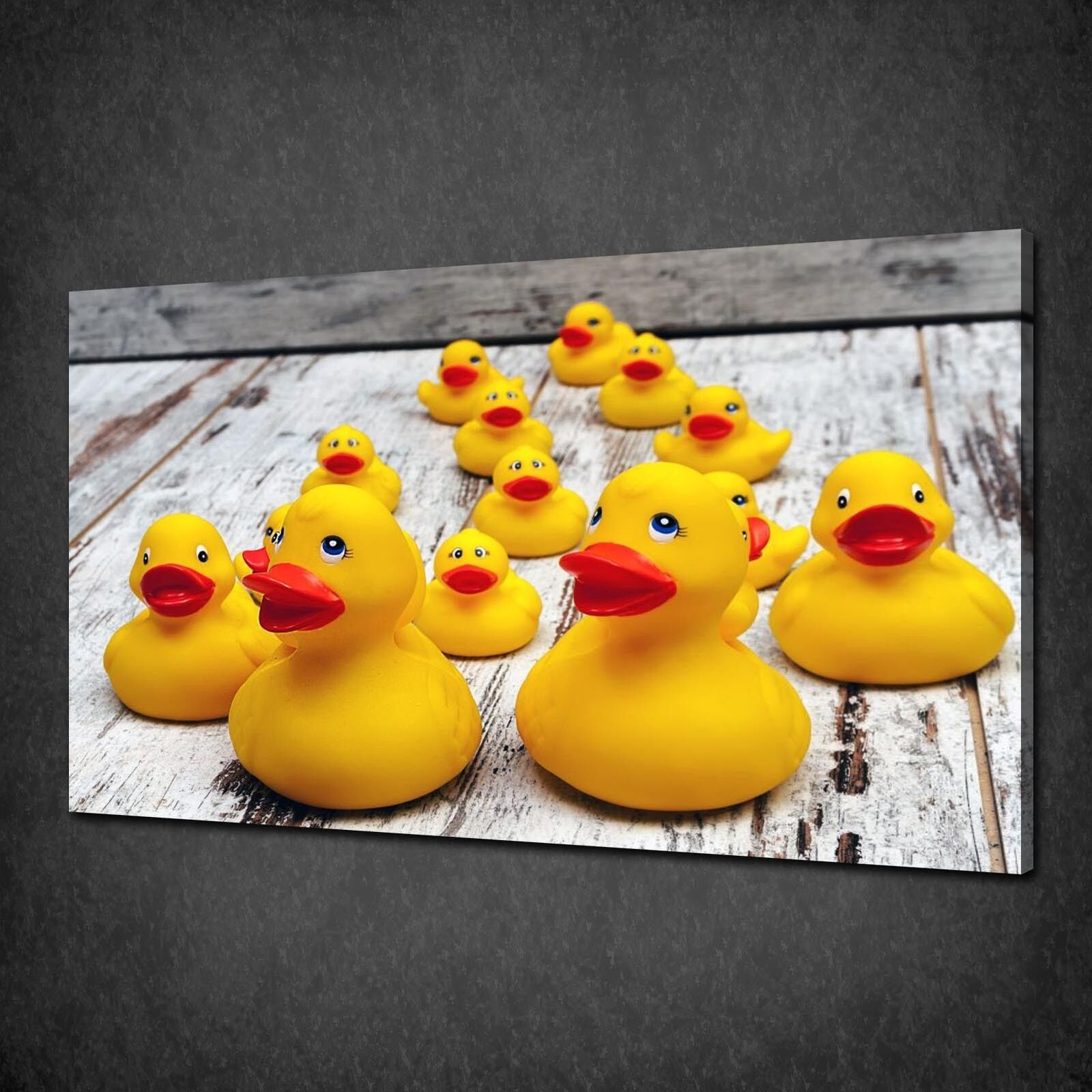 YELLOW RUBBER DUCKS Bathroom Canvas Wall Art Print Picture Ready To ...