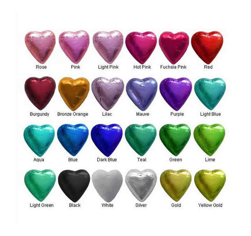 300 Cadbury Chocolate 24 Colours Hearts -Wedding Favours Birthday Parties