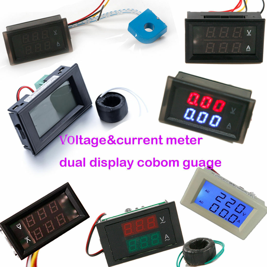Ac Dc Voltmeter Ammeter Voltage Current Tester Digit Dual Display And 1 Of 1free Shipping