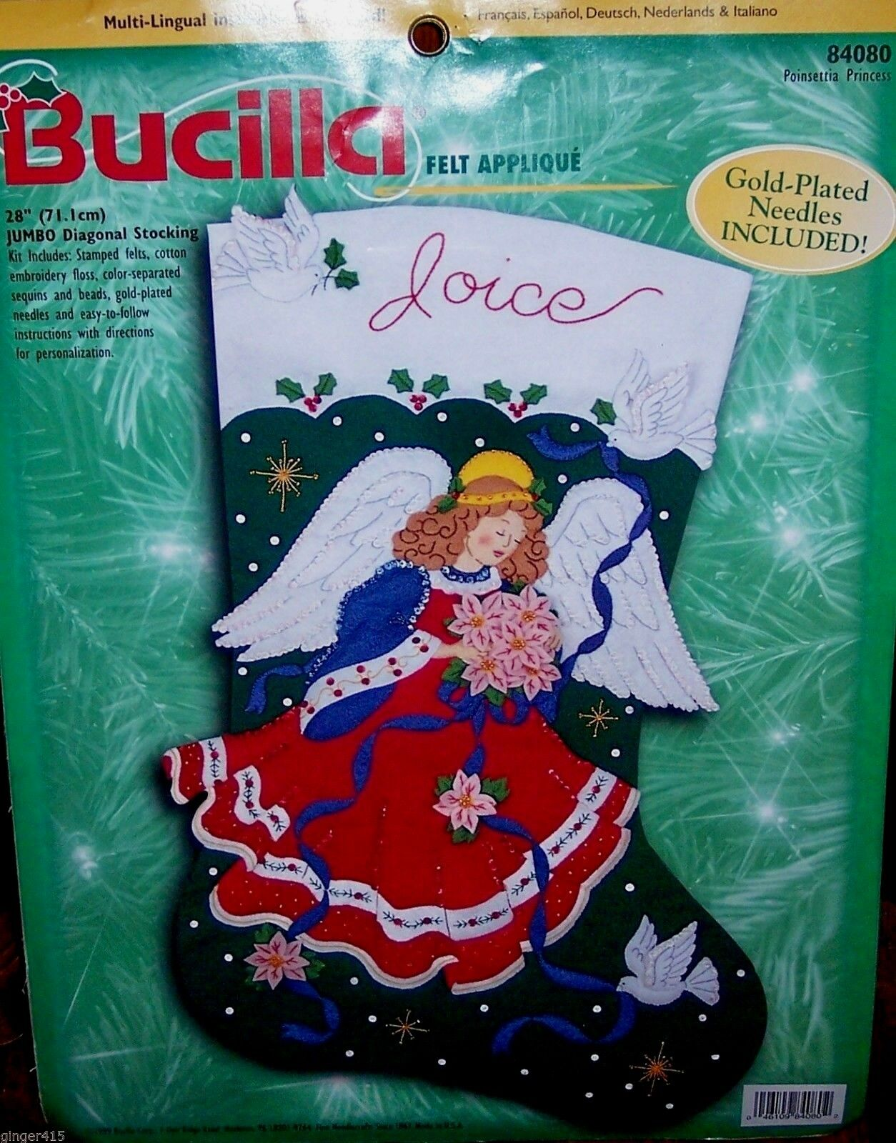 BUCILLA POINSETTIA CELESTIAL ANGEL Felt Christmas Stocking Kit Jumbo ...