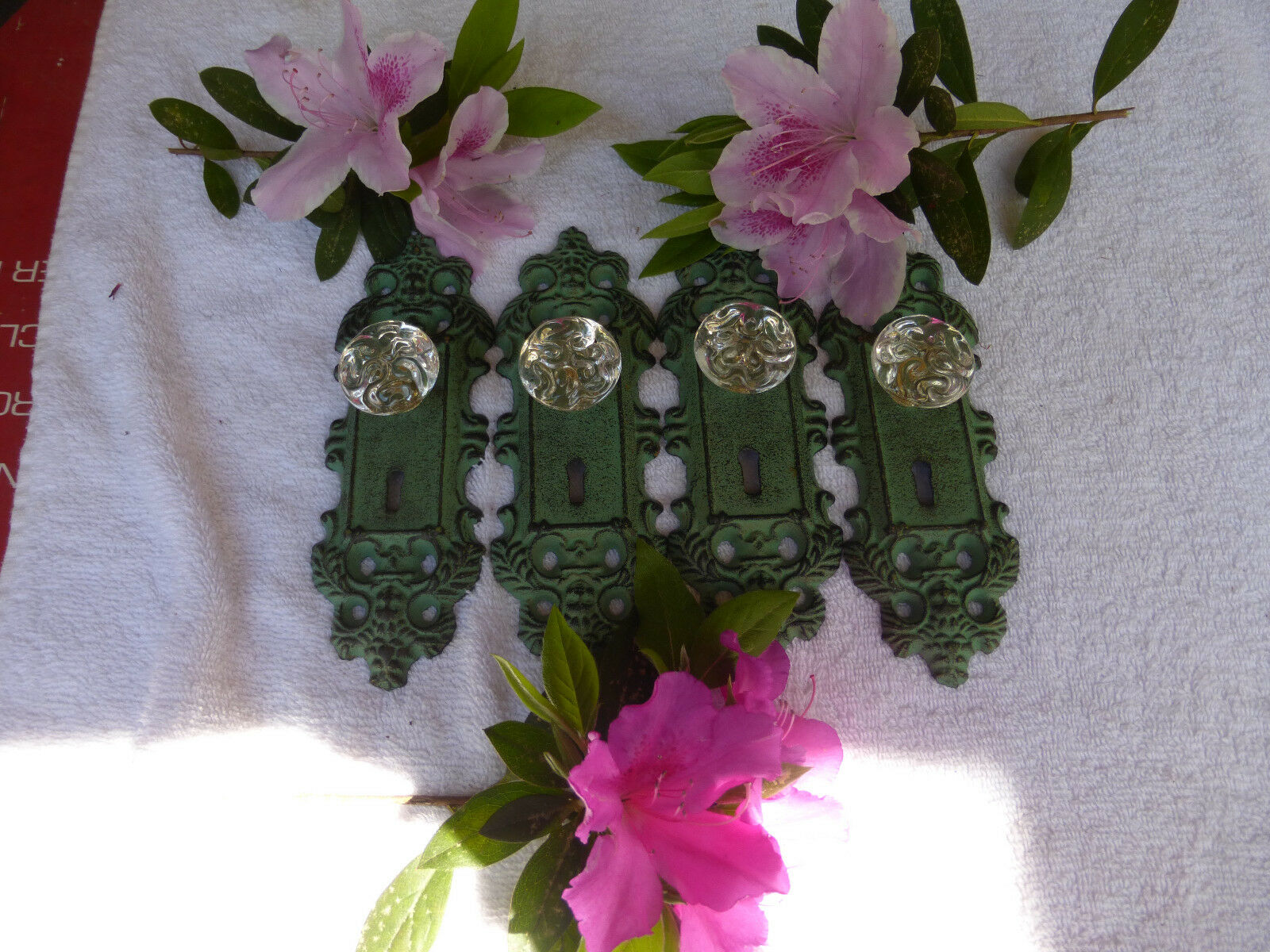 FOUR Cast Iron door plates acrylic glass knobs in antique turquoise/gold