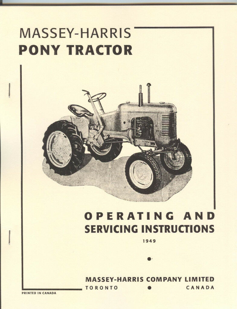 Massey-Harris Pony Tractor Operating and Service Manual MH Massey-Harris  Pony Tractor Operating and Service Manual MH 1 of 4 ...
