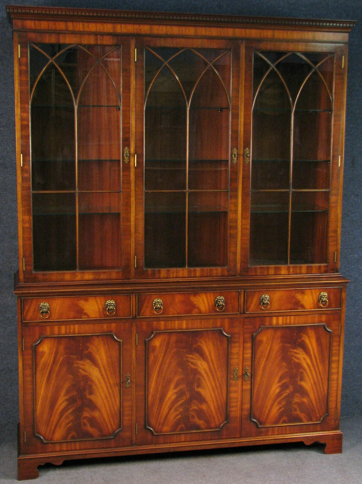 Reprodux Bevan Funnell Georgian Style Flame Mahogany Display Cabinet On Cupboard