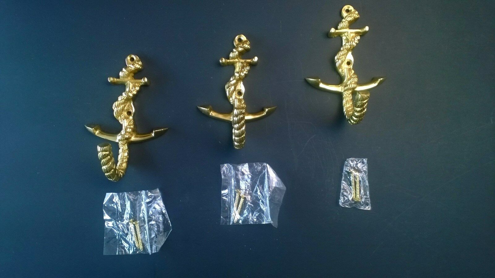 New Ship Anchor and Rope Nautical Solid Brass Hooks