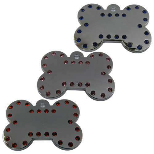 Swarovski Like Crystal Pet ID Tags For Dogs 39mm High Polished Solid Executive