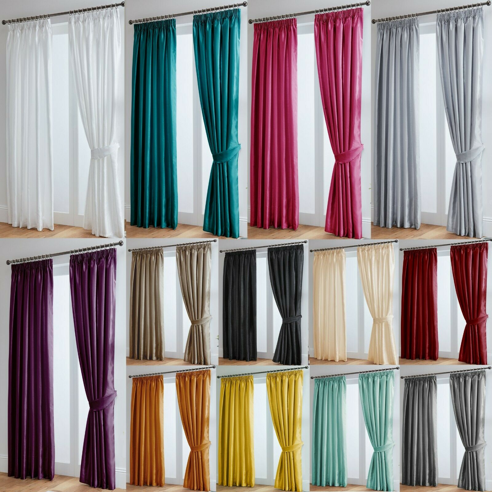 Luxury Faux Silk Fully Lined Curtains Pencil Pleat Free Tiebacks Picclick Uk