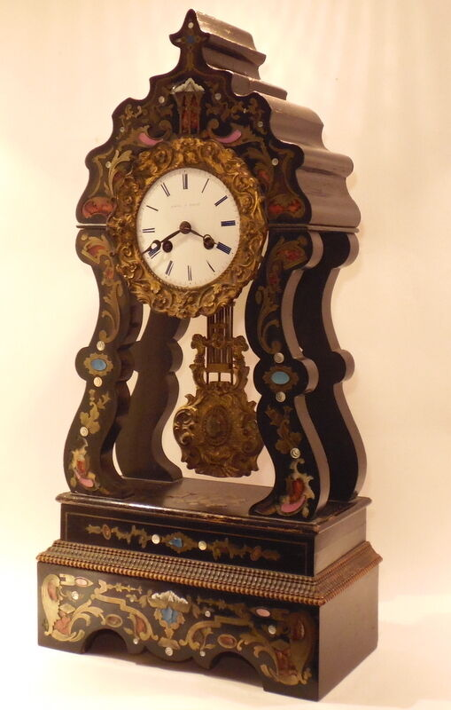 Antique French Inlaid Portico Clock