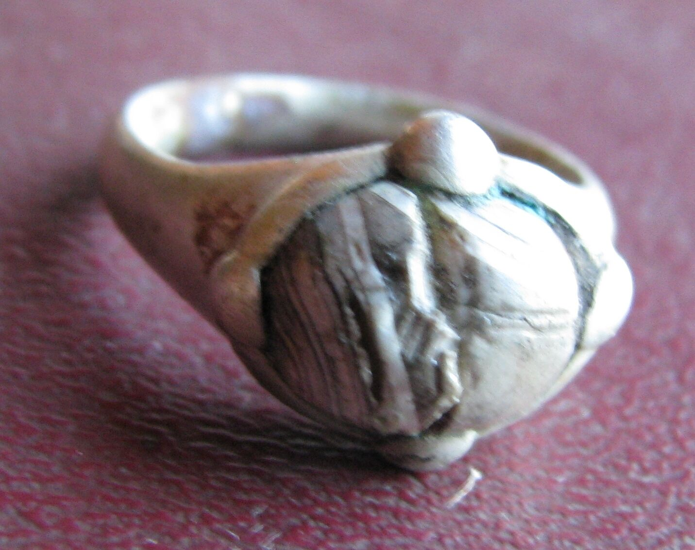 Authentic Ancient Artifact > Viking Silver Bead Ring Sz 7 1/2 US 17.75mm VK 65