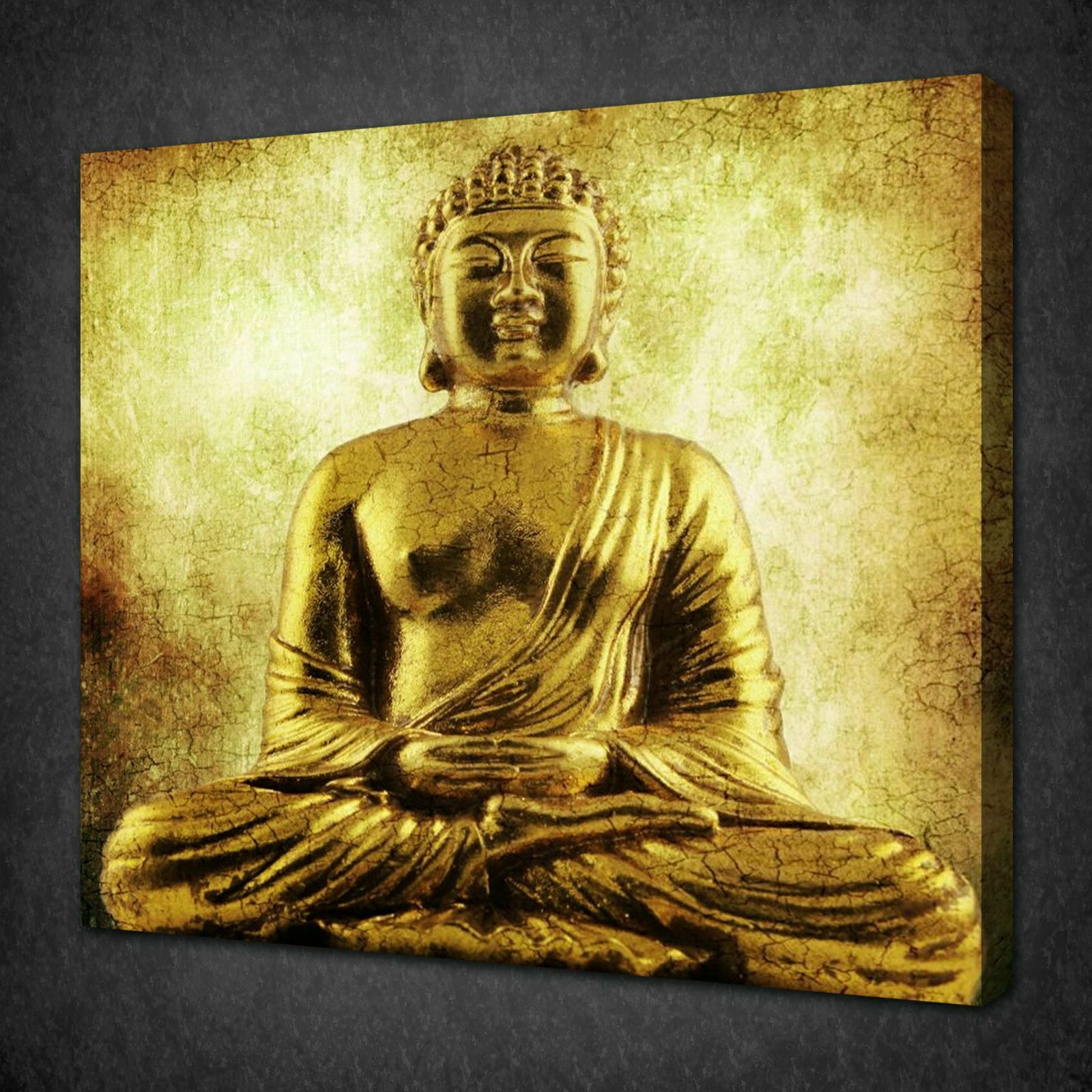GOLDEN SITTING BUDDHA Ethnic Canvas Wall Art Picture Print Ready To ...