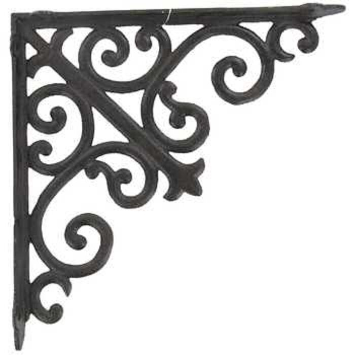 """X2-LARGE HEAVY DUTY BROWN CAST IRON BRACKETS WITH SCROLLS-8"""" New.On Sale."""