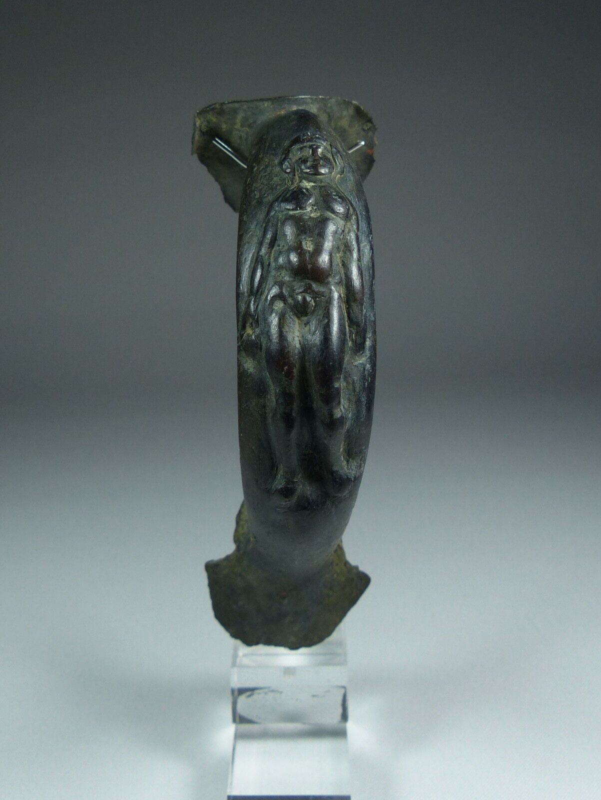 Superb Ancient Roman Bronze Handle With Nude Male 2Nd Ad