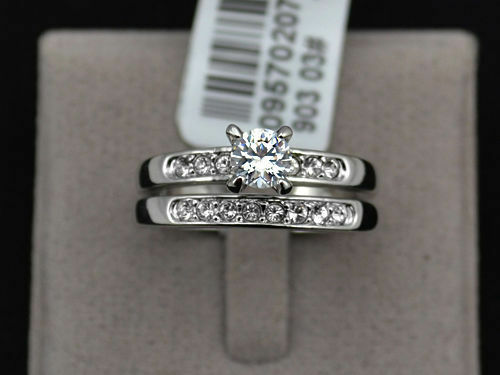 14k White Gold Sterling Silver Round Cut Diamond Engagement Ring Wedding Set