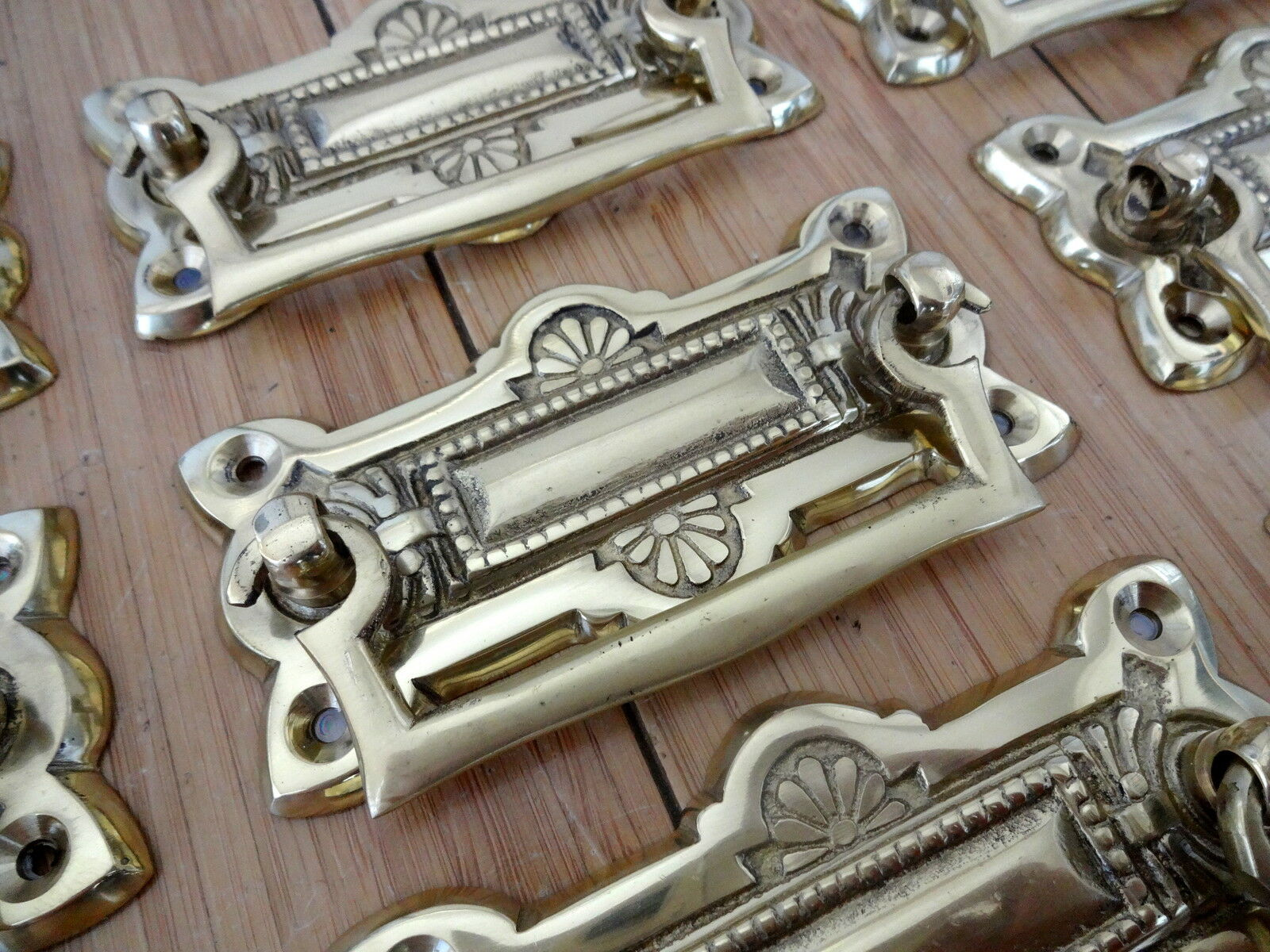 "2 X Ornate Cast Brass Drawer Handle"" Knobs Cupboard Door Pull Knocker Furniture"