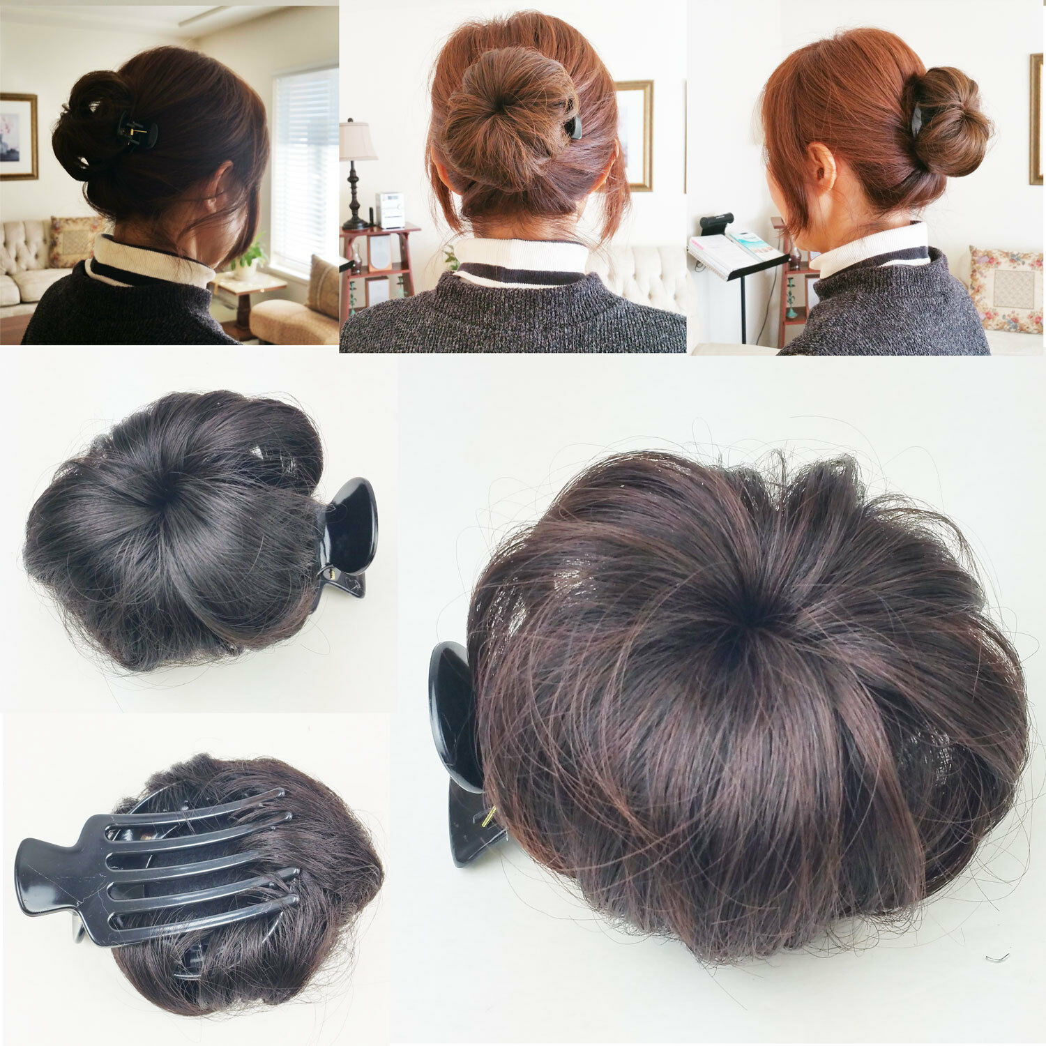 Hair Bun Clip Pin In Synthetic Extension Women Girl Fashionsolid
