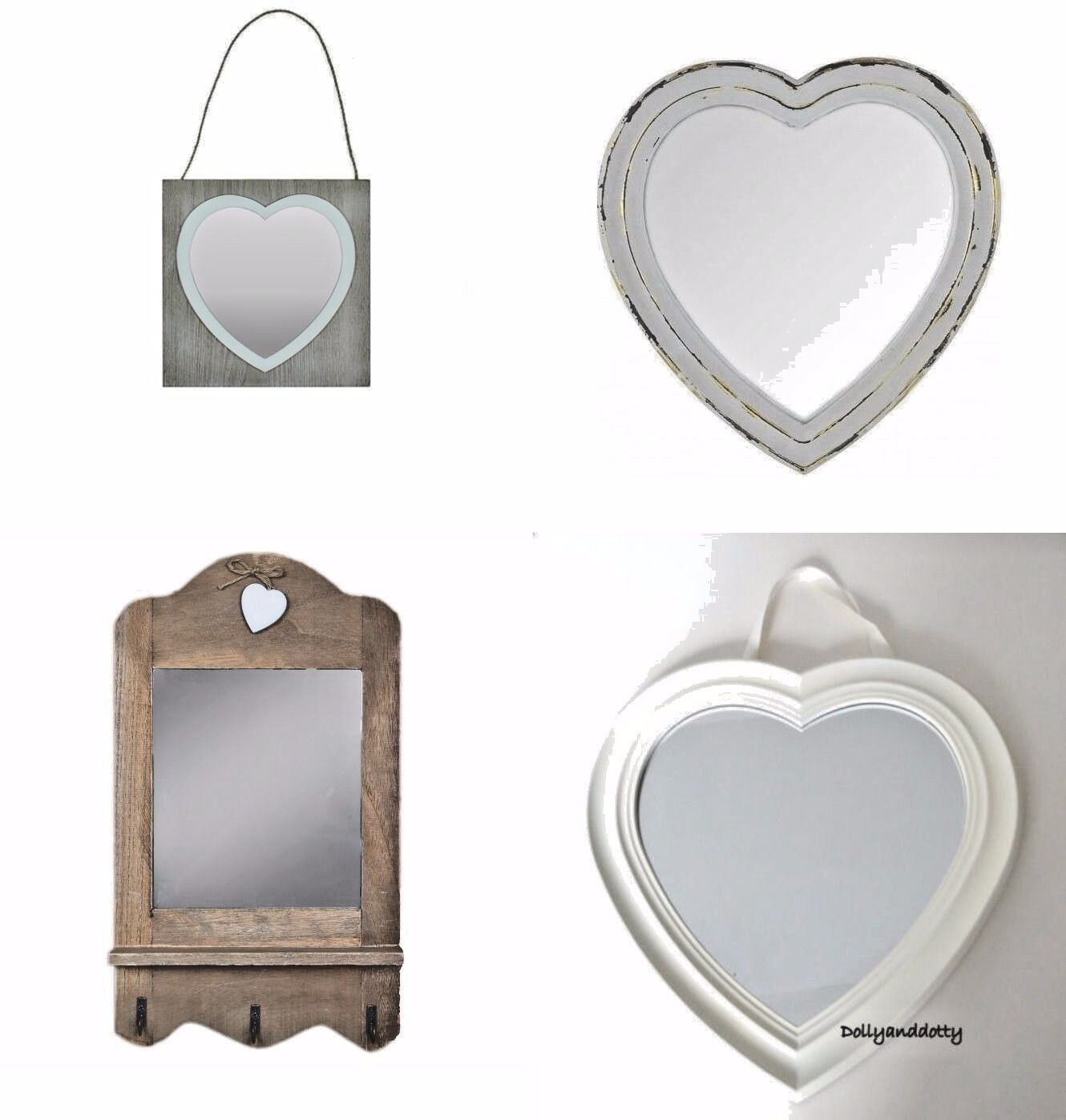 Heart Shape Mirror White Wall Hanging Brown Wooden Shabby