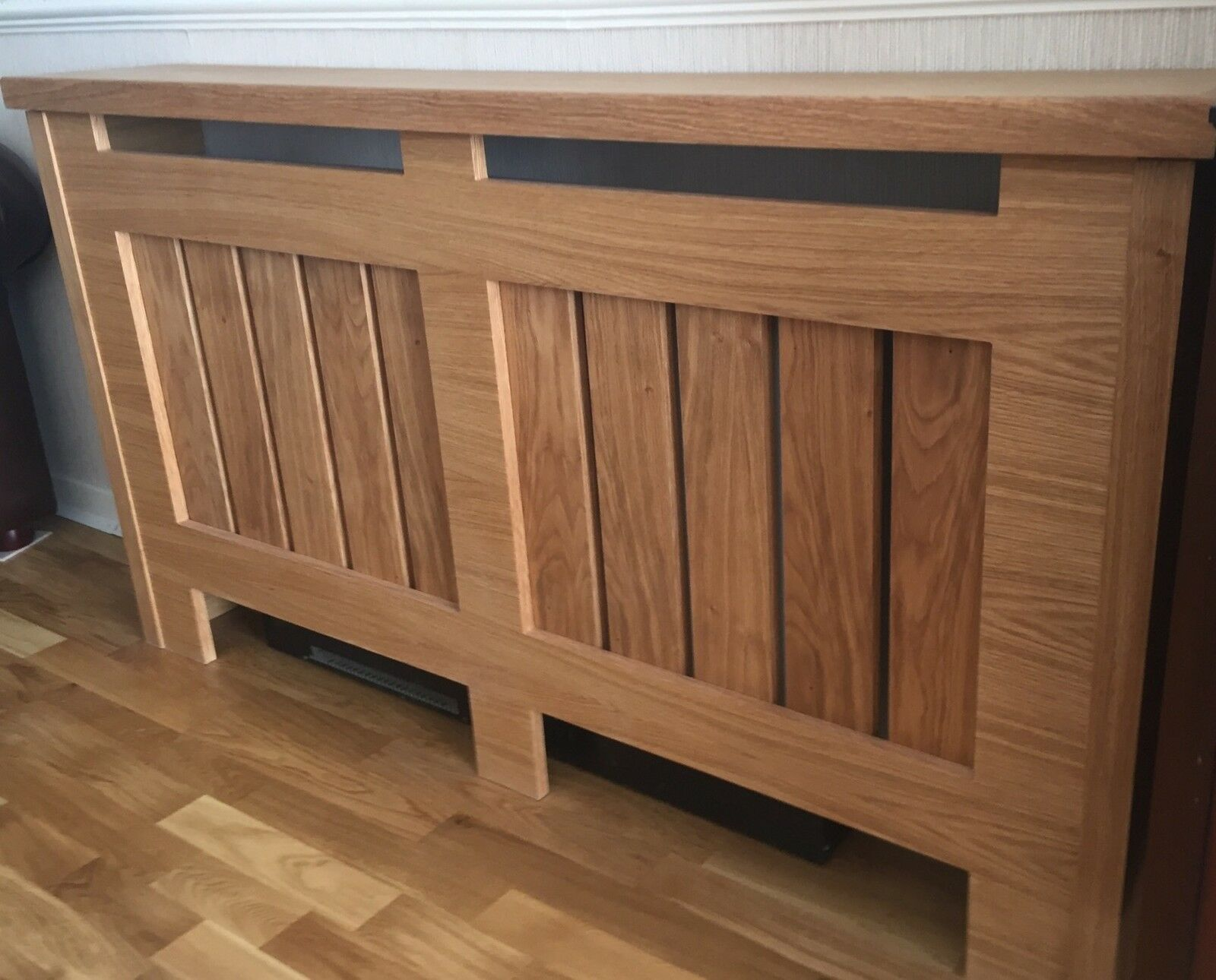MADE TO MEASURE Telmah Oak Radiator Cover / Cabinet 1 Of 3 Modern MADE . Full resolution  photograph, nominally Width 1600 Height 1290 pixels, photograph with #6F4931.