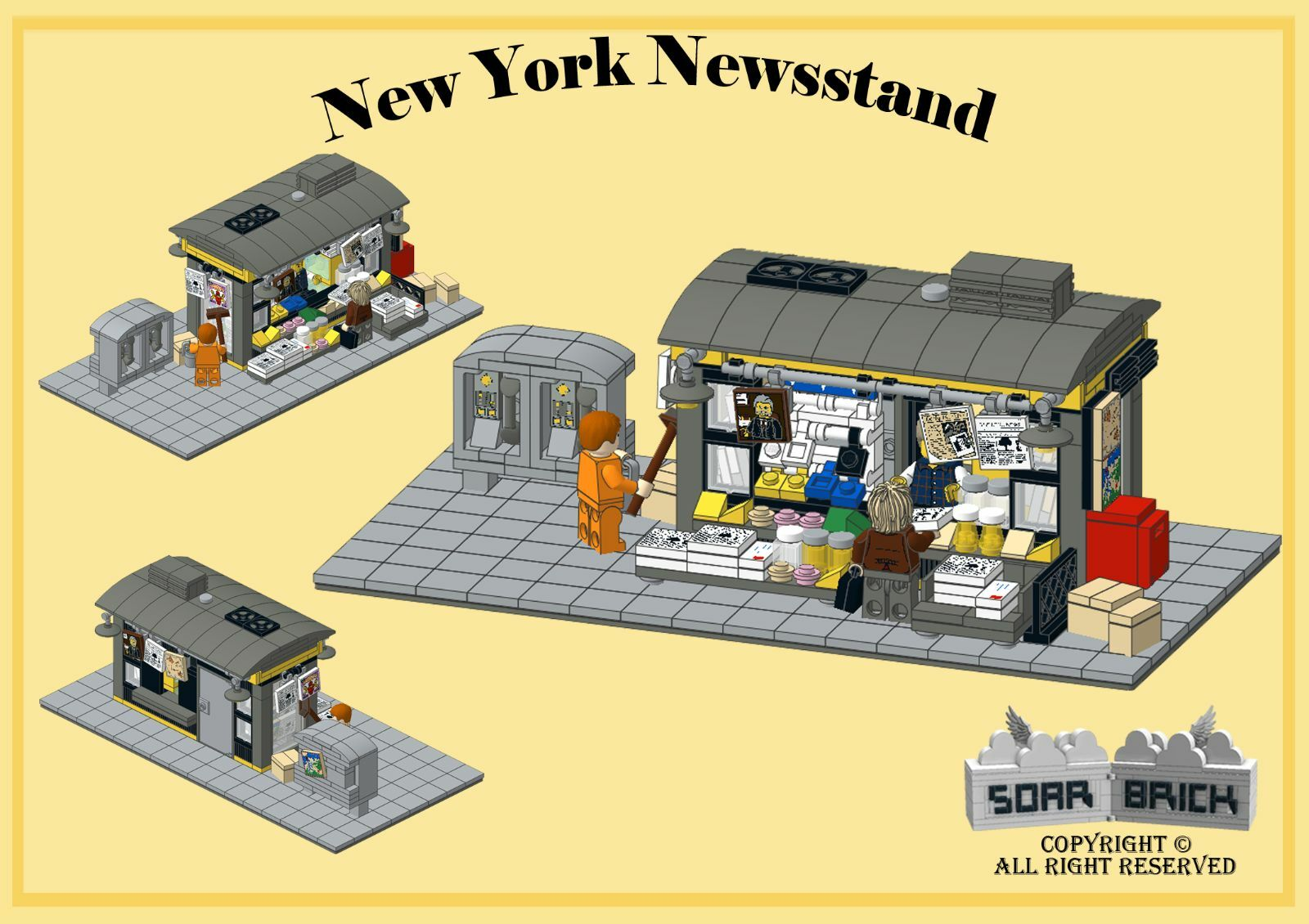 Custom Instruction Consisting Of Lego Elements New York Newsstand