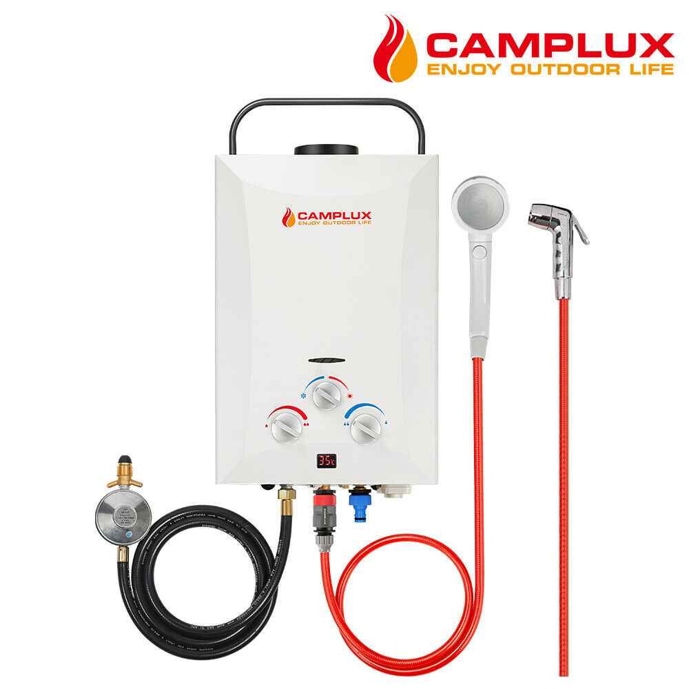 Camplux portable gas hot water heater shower camping caravan outdoor lpg 4wd picclick au - Shower water heater ...