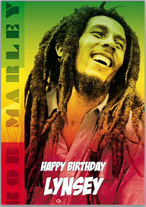 Bob Marley Birthday Card A5 Personalised With Own Words 329