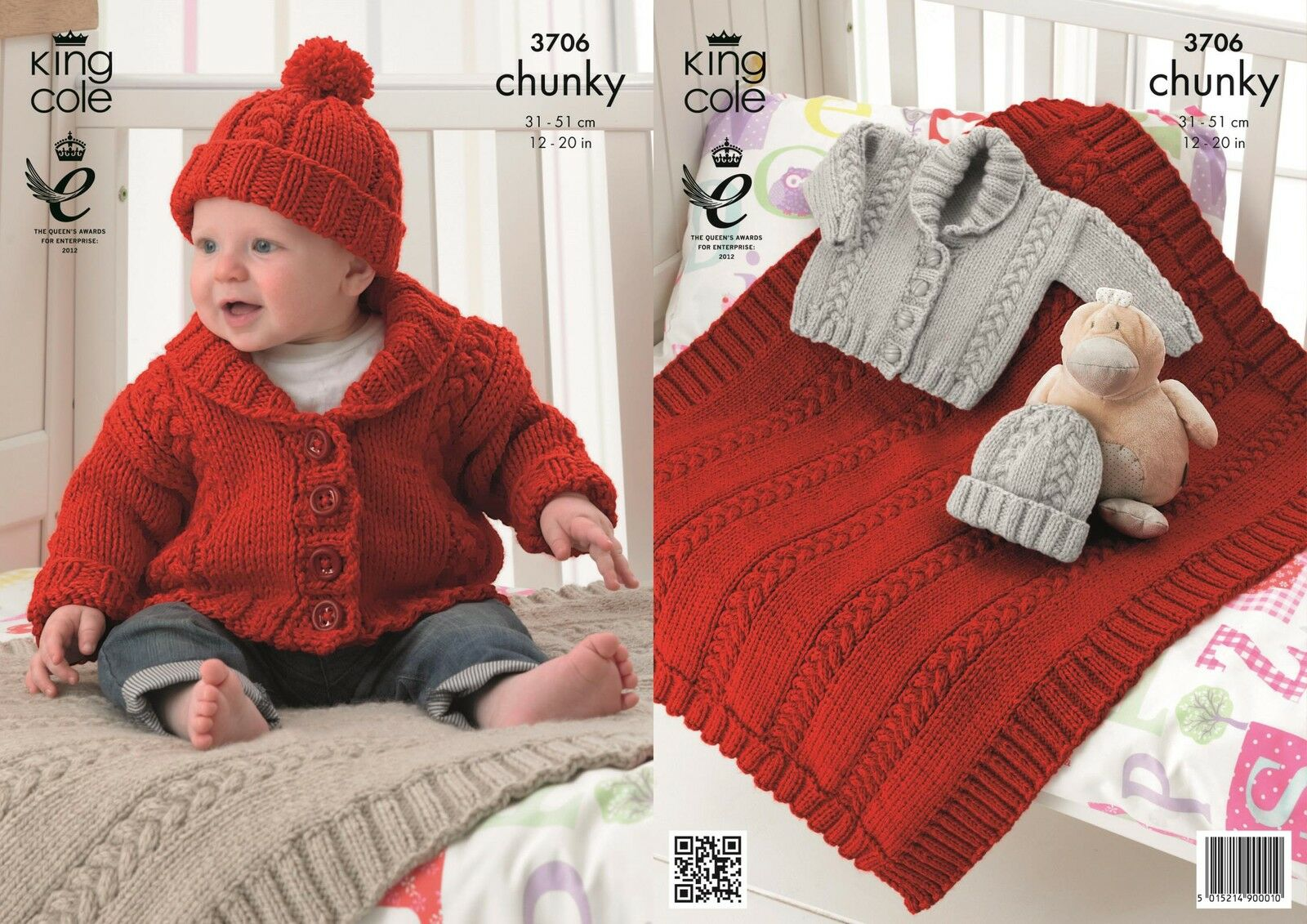 King Cole 3706 Knitting Pattern Baby Jacket, Hat and Blanket in Comfort Chunk...