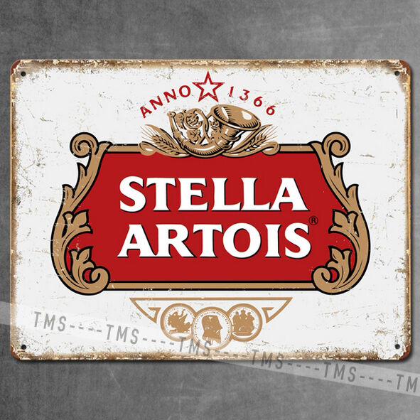 Stella artois beer vintage metal sign tin retro plaque for Plaque w garage assurance