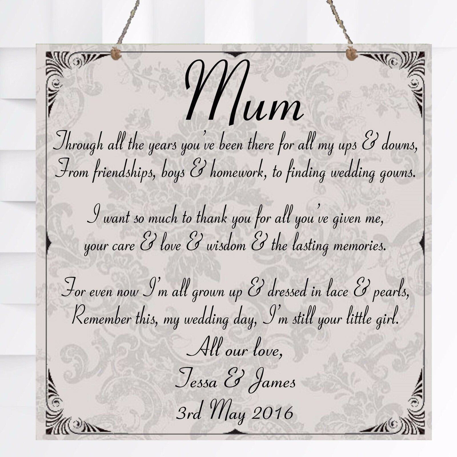 personalised wedding mother of the bride chic plaque marriage gift