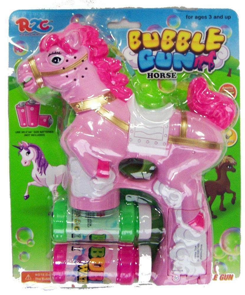 LIGHT UP PINK HORSE BUBBLE GUN WITH SOUND 2 BOTTLES BUBBLES AND ...