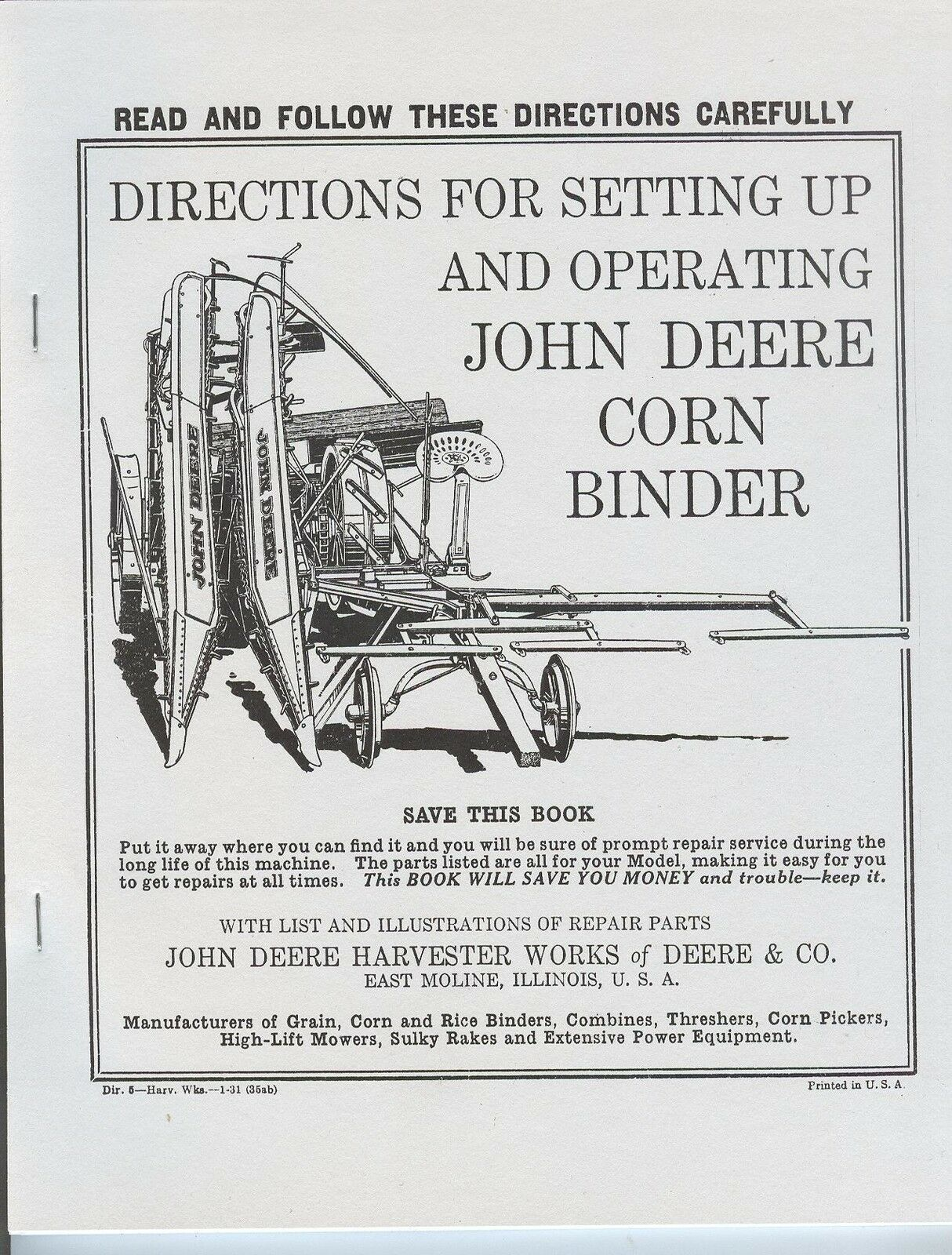 John Deere Corn Binder Operator & Parts Manual Horse Drawn JD 1 of 5FREE  Shipping ...
